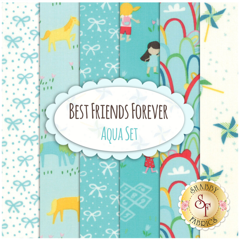 Best Friends Forever 6 FQ Set - Aqua Set by Stacy Iest Hsu for Moda Fabrics