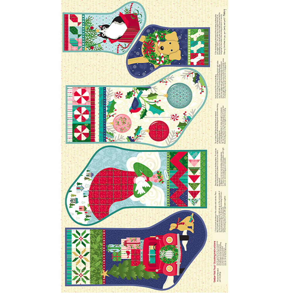 Adorable stocking panel with different Christmas scenes | Shabby Fabrics