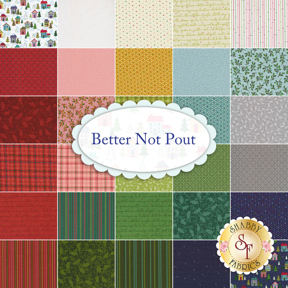 A collage of fabrics included in the Better Not Pout FQ Set   Shabby Fabrics
