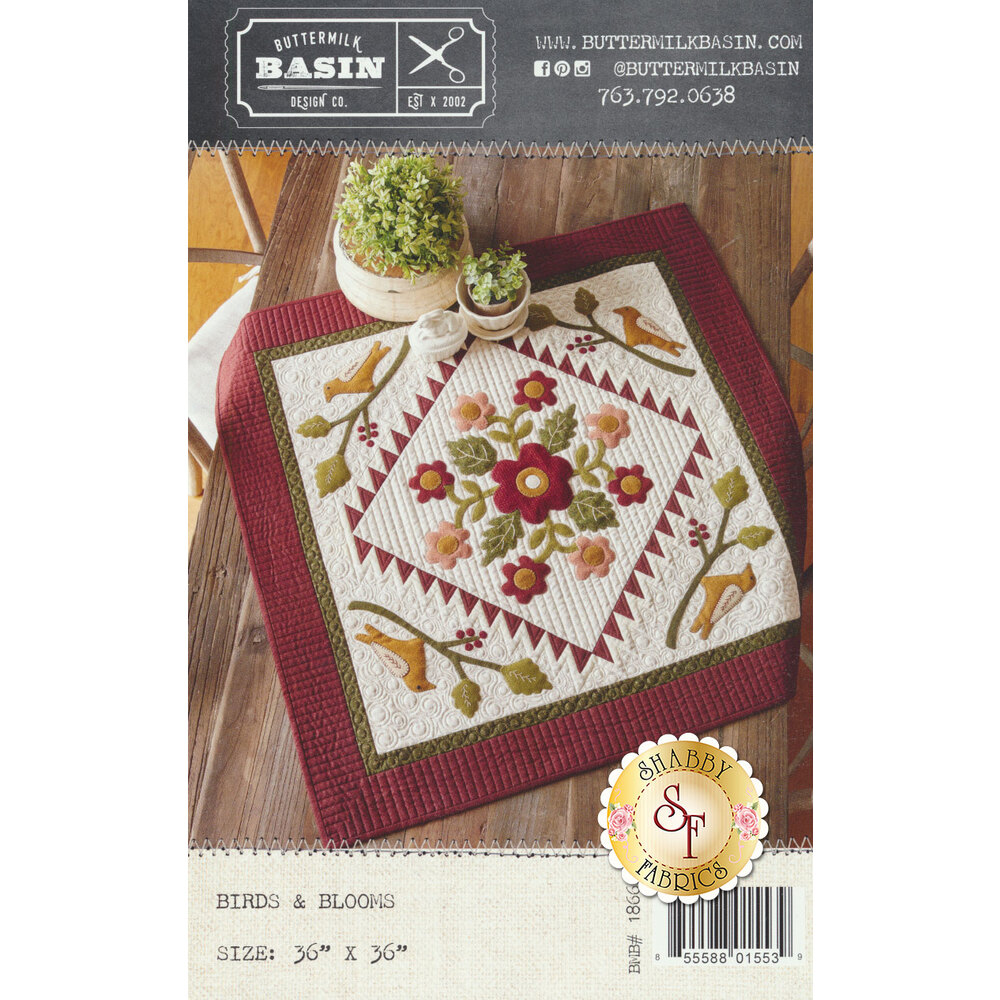 The front of the Birds & Blooms pattern showing the finished quilt | Shabby Fabrics
