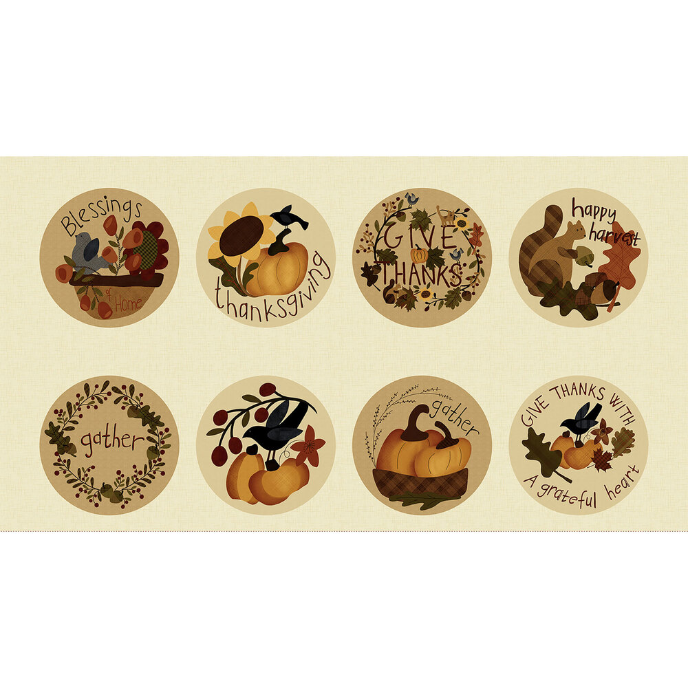Autumn panel featuring 8 circles with cute autumn scenes on a cream background