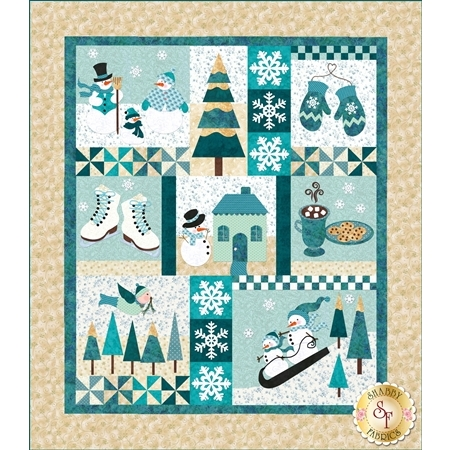 Set of eight quilt blocks with appliqued winter motifs and accents.