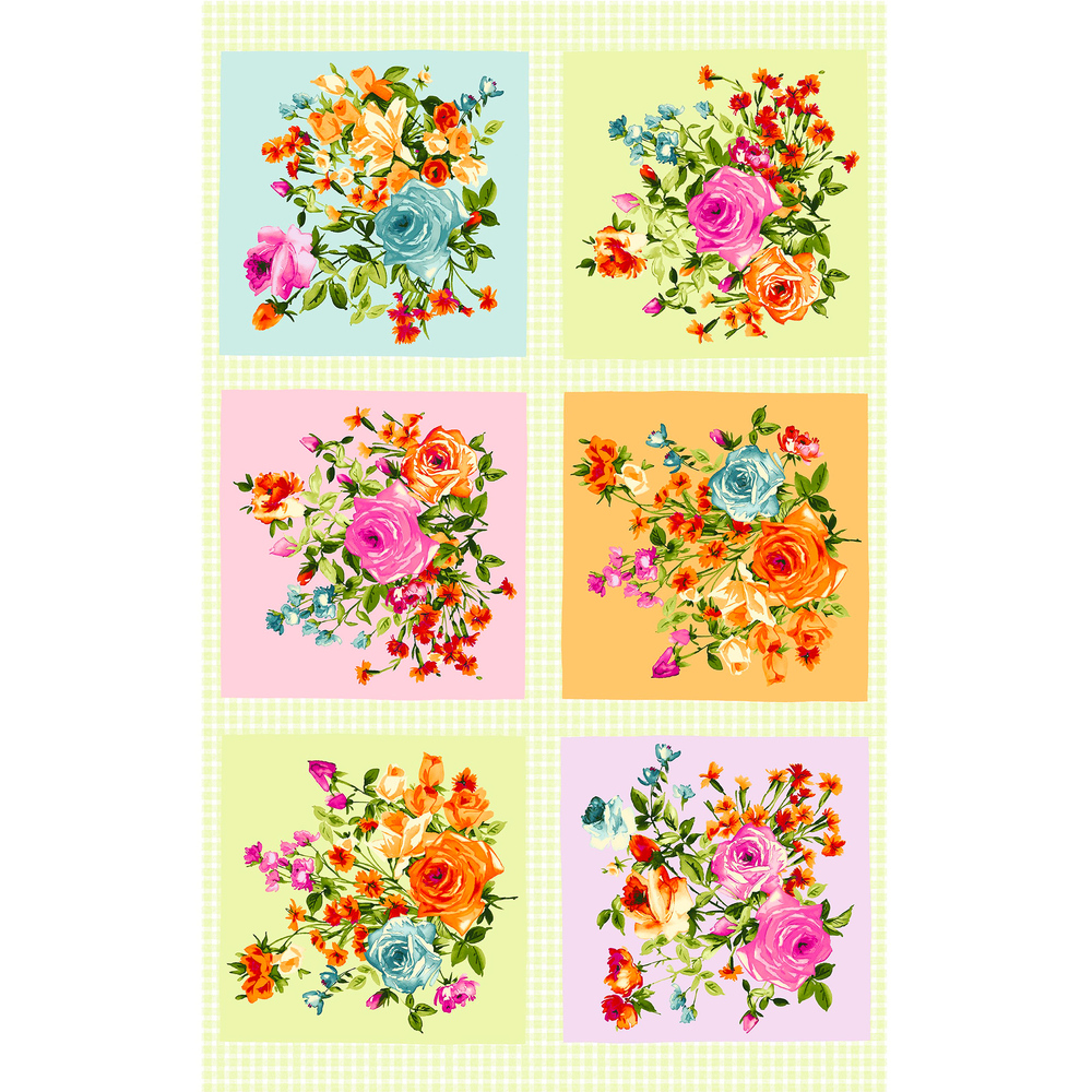 Green and white gingham sewing panel with 6 floral blocks