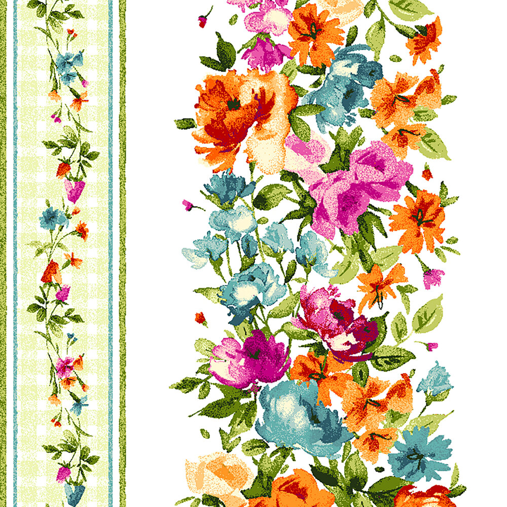 White and green border striped fabric with colorful flower columns