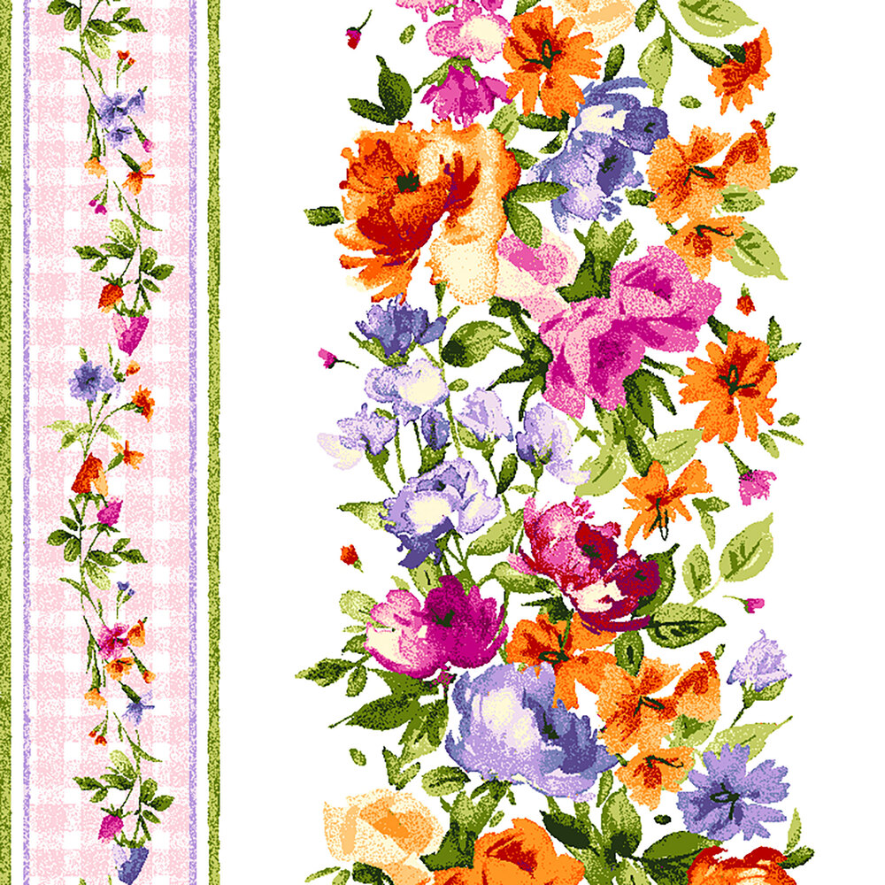 White and pink border striped fabric with colorful flower columns