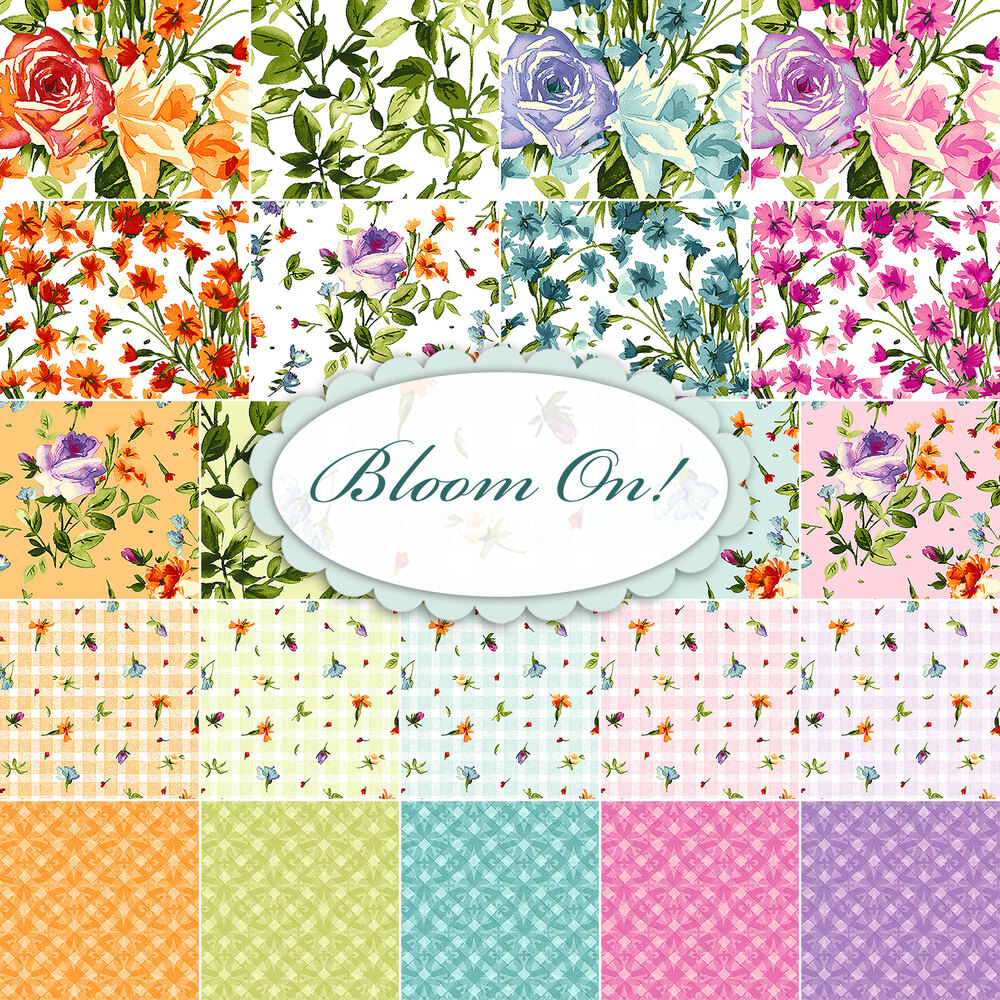 A collage of fabrics included in the Bloom On! fabric collection