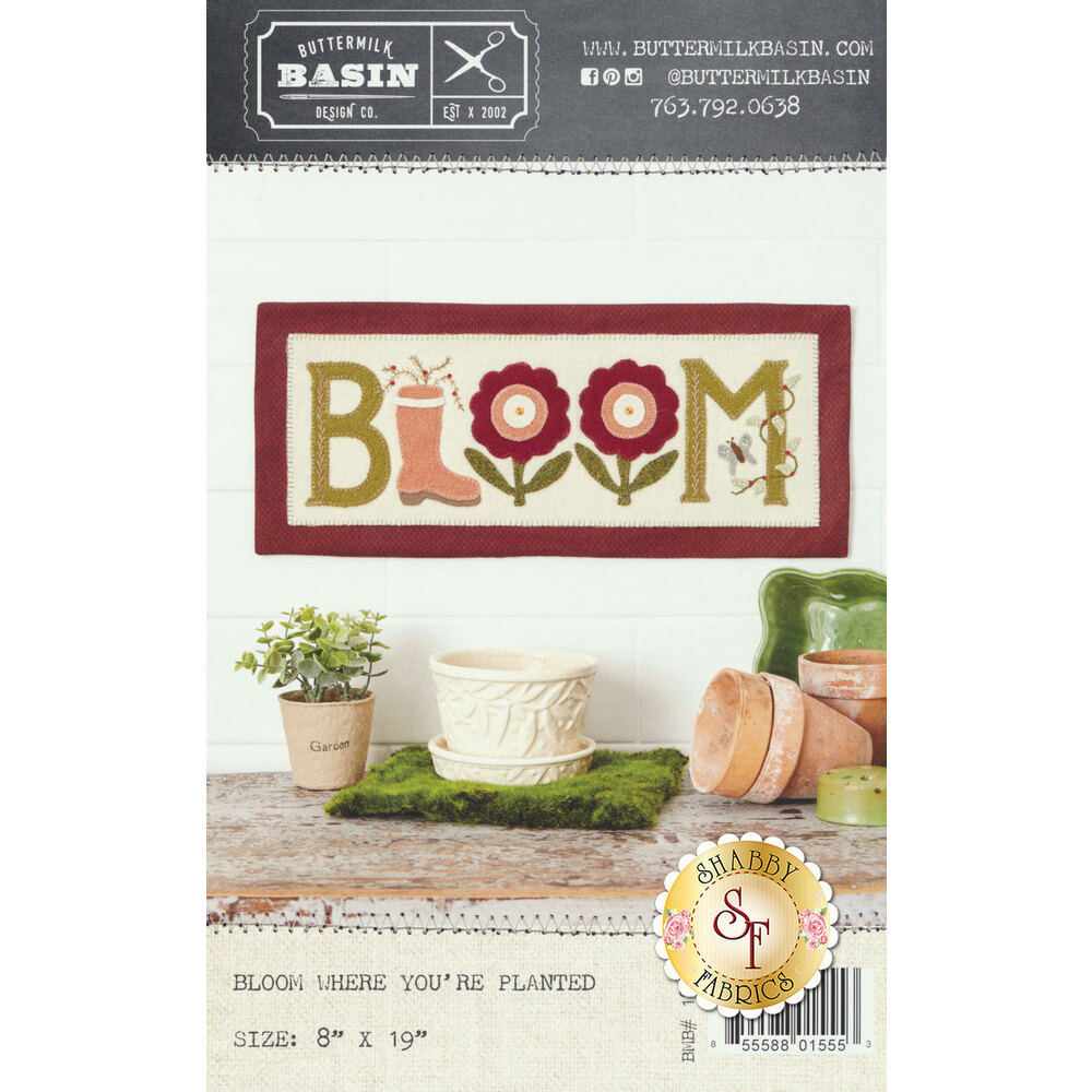 The front of the Bloom Where You're Planted Pattern showing the finished mat
