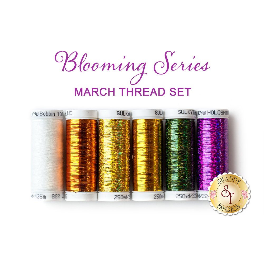 6pc coordinating thread set for Blooming Series March | Shabby Fabrics