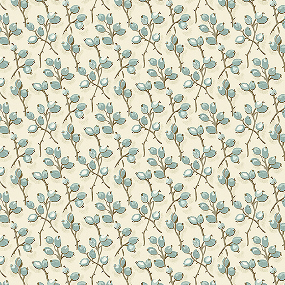 Flower buds and vines on a cream background