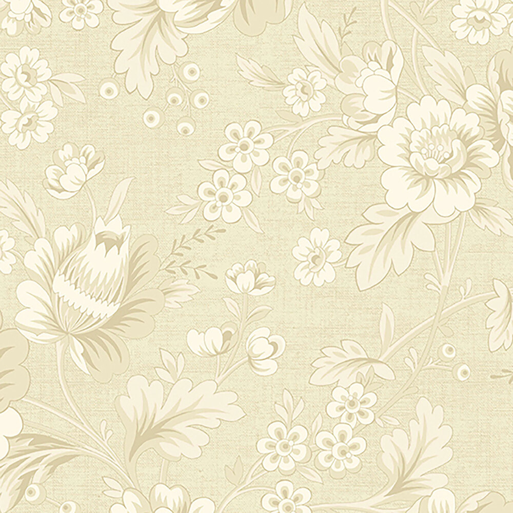 Beautiful tonal flowers and leaves on a cream background