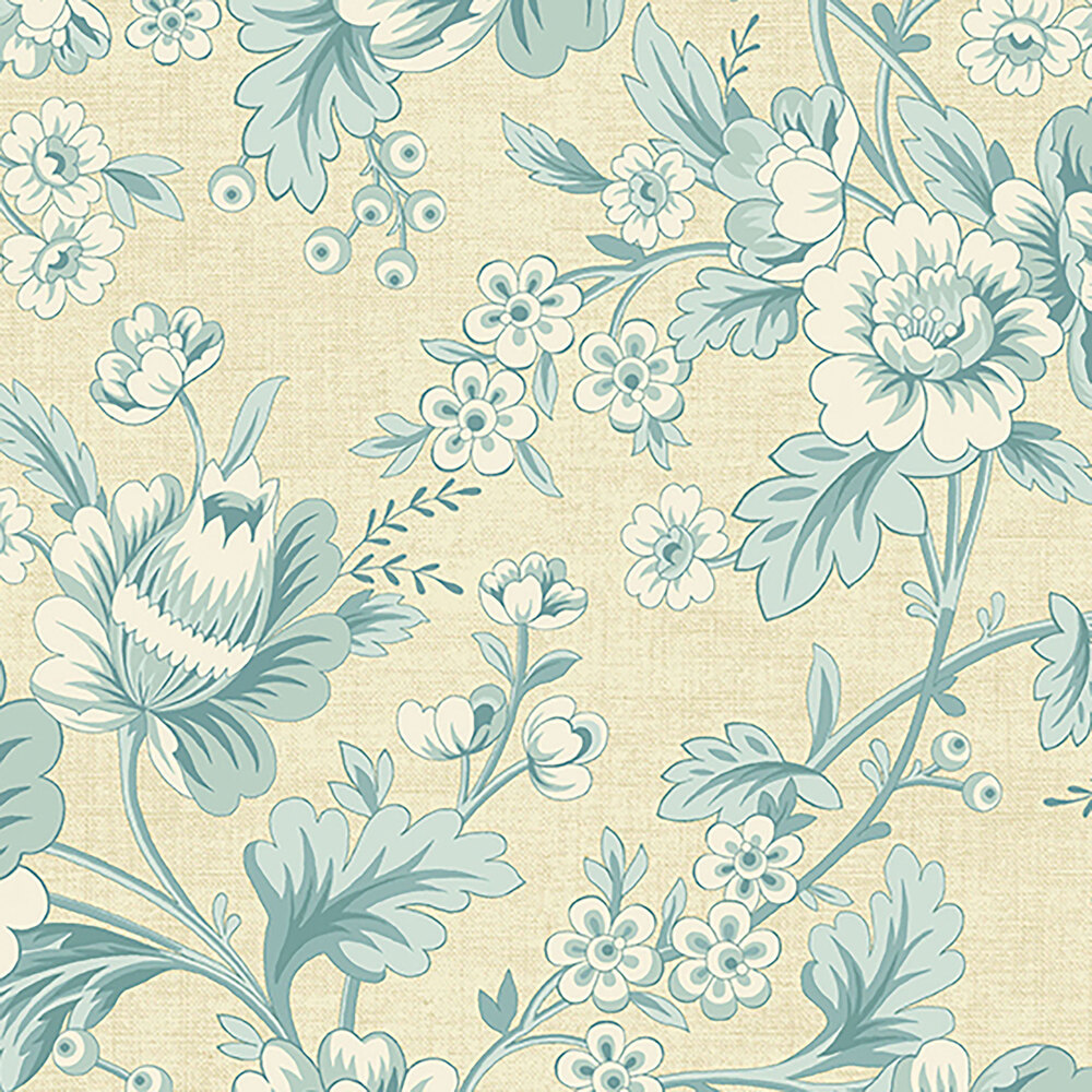 Beautiful light blue flowers and leaves on a cream background
