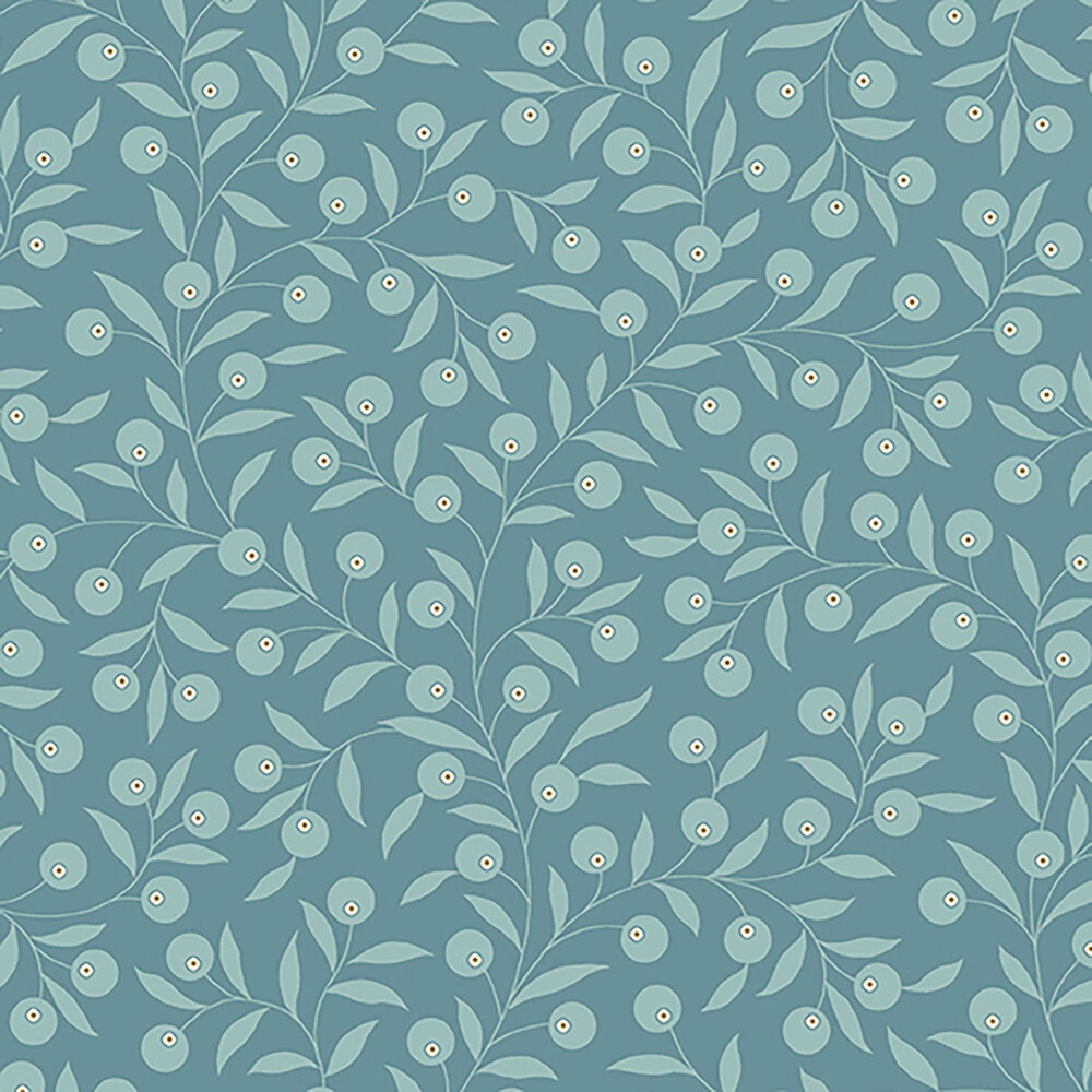 Light blue vines and leaves all over a medium blue background