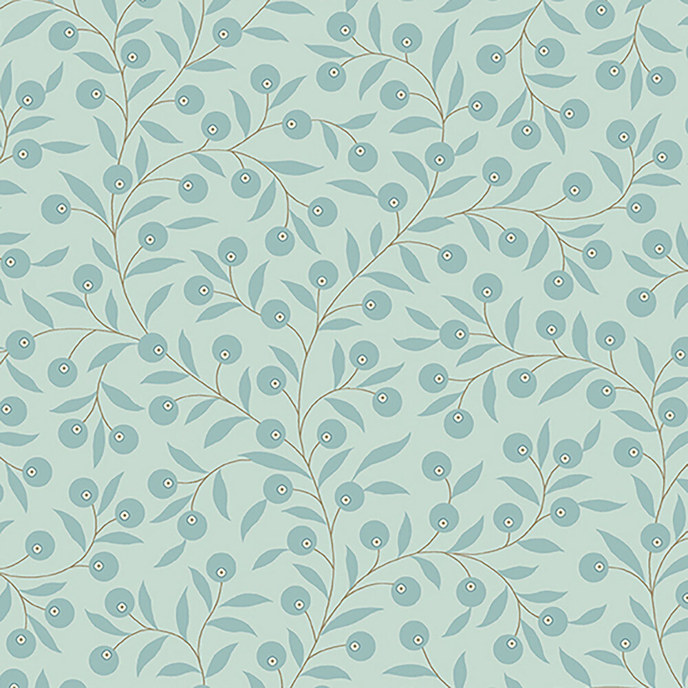 Blue vines and leaves all over a light blue background