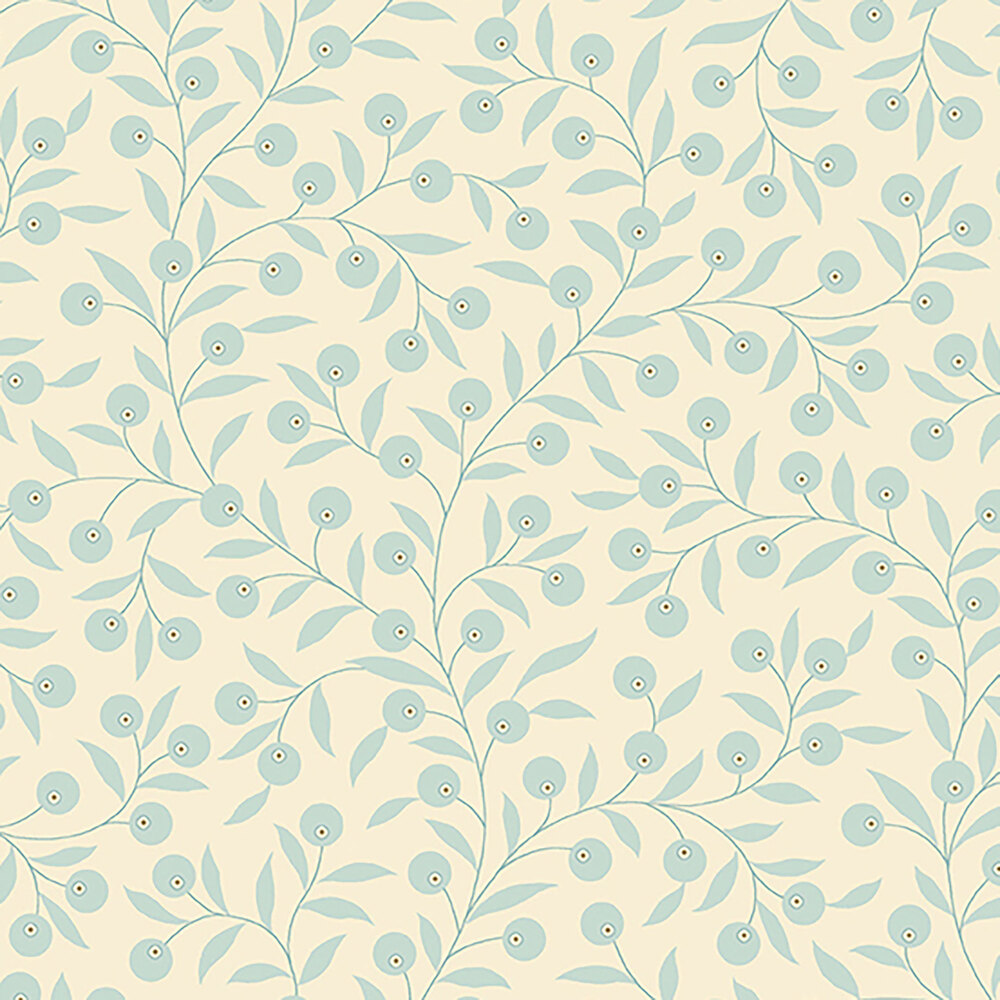 Light blue vines and leaves all over a cream background