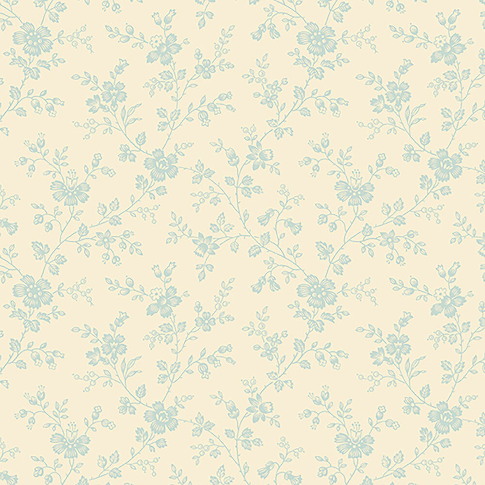 Small blue vines and flowers on a cream background