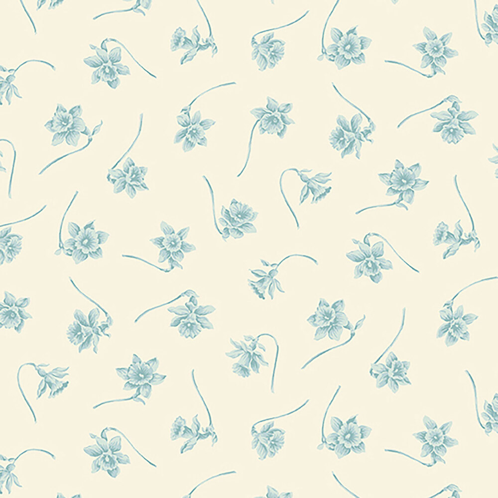 Small tossed blue flowers on a cream background