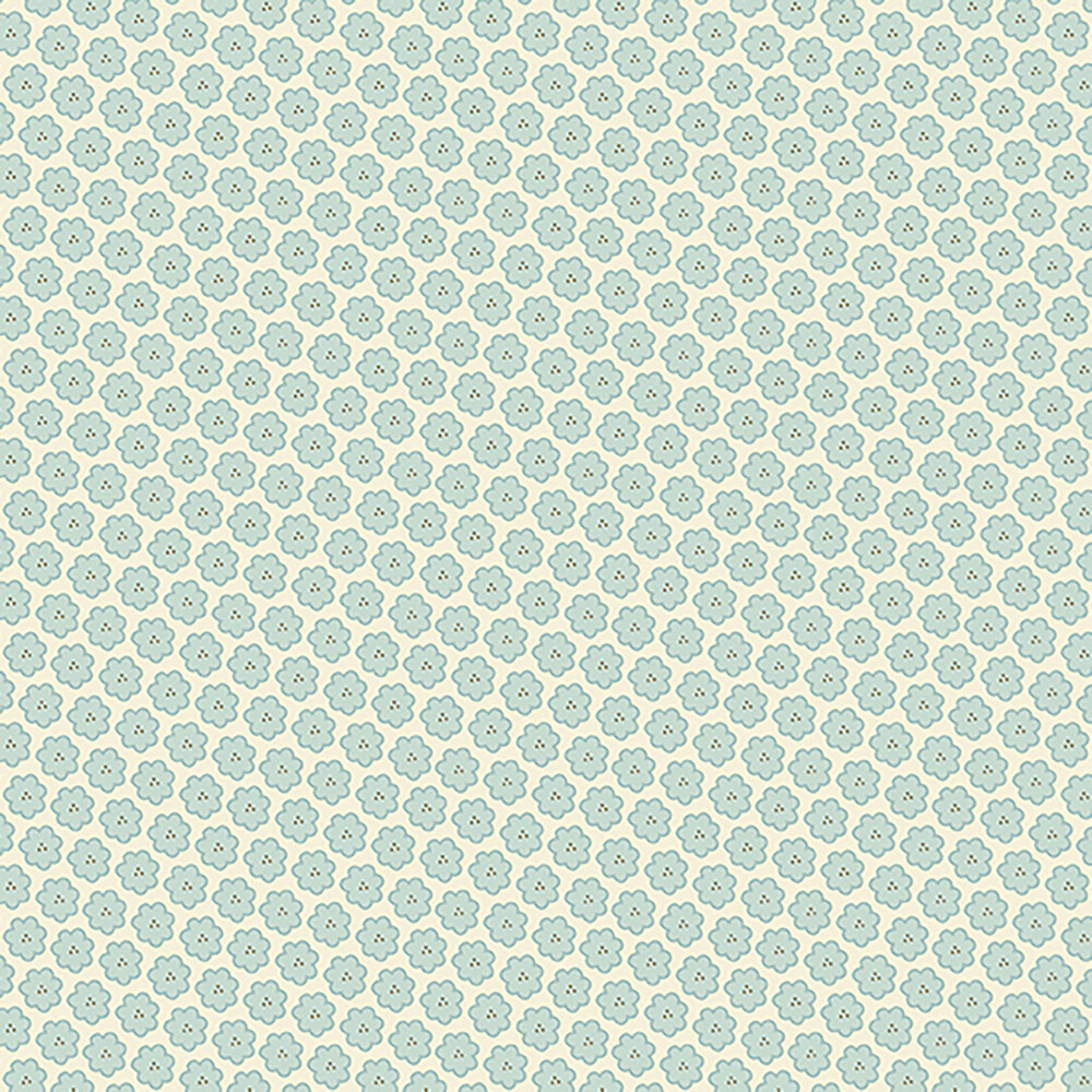 Small light blue flowers on a cream background