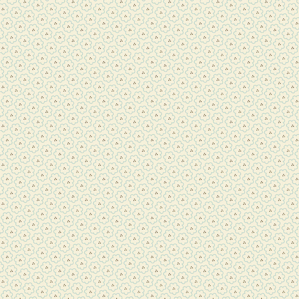 Small light blue flower outlines on a cream background