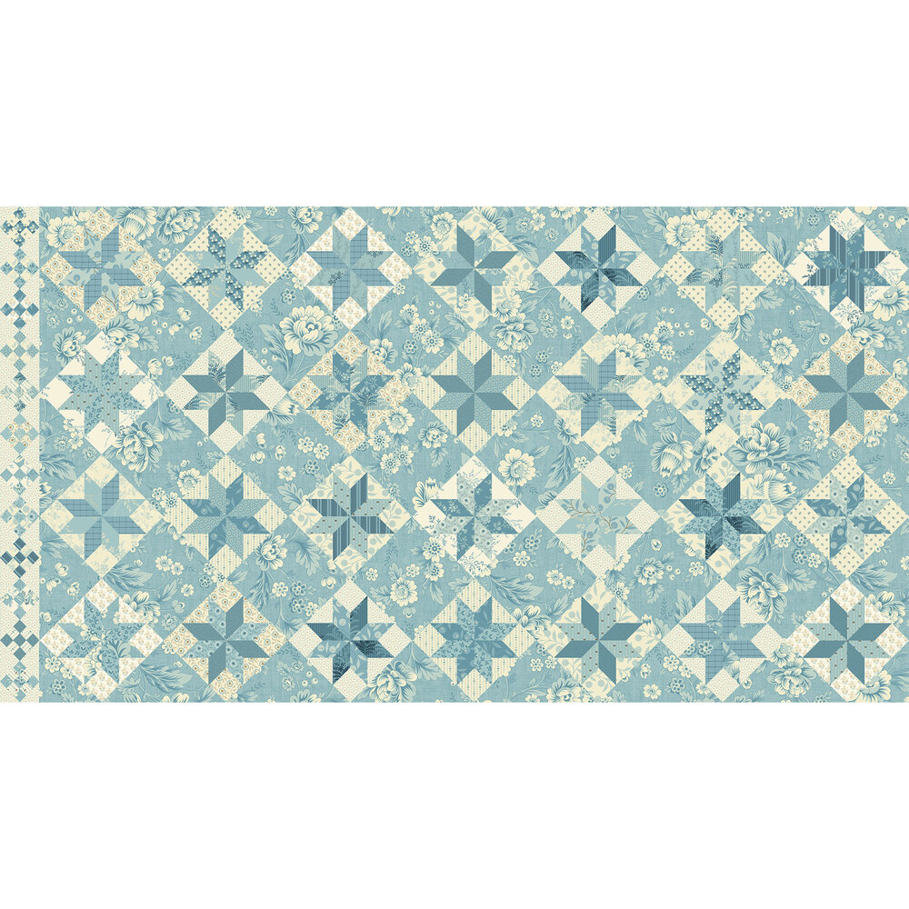 Geometric fabric with different floral fabrics