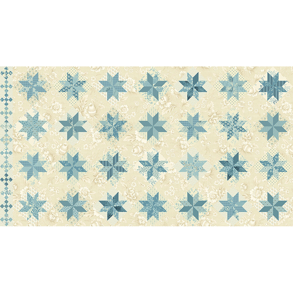 Geometric fabric with different floral fabrics and blue stars