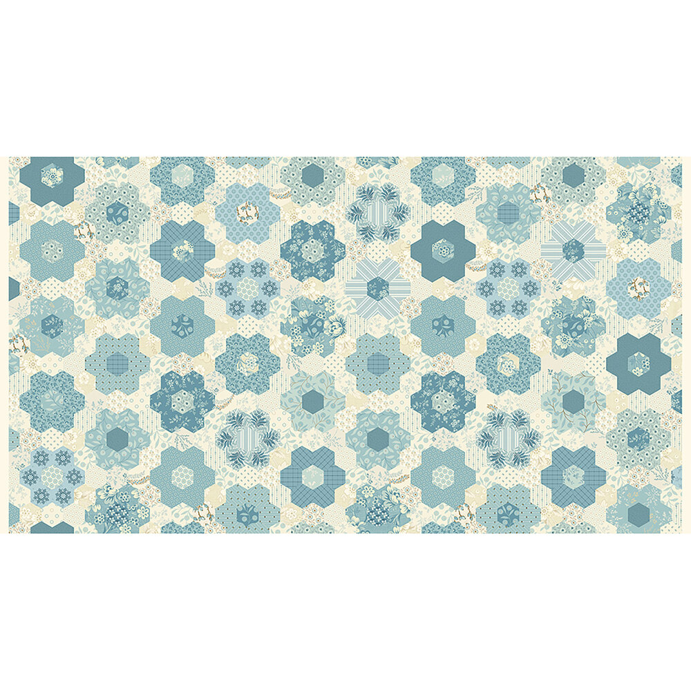 Geometric floral fabric with flower hexagon patterns