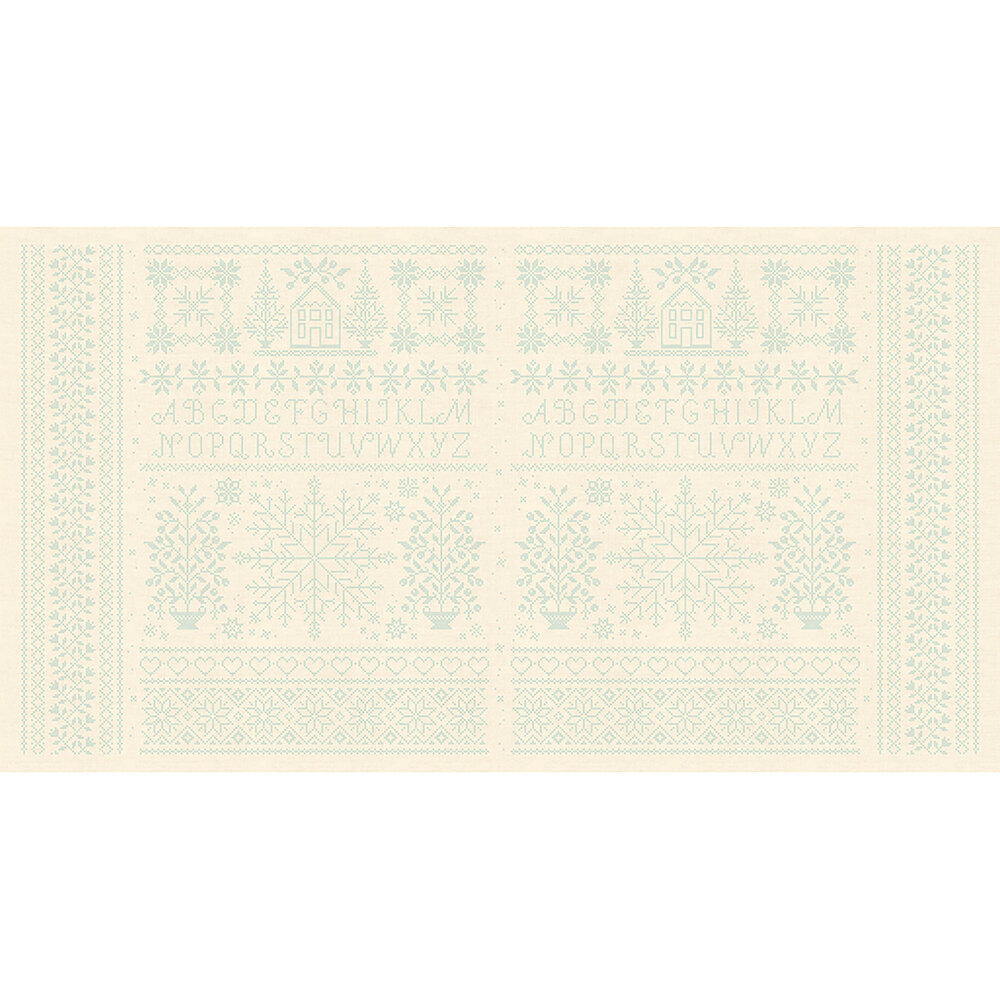 Cream fabric with light blue pixelated alphabet letters, snowflakes, and trees