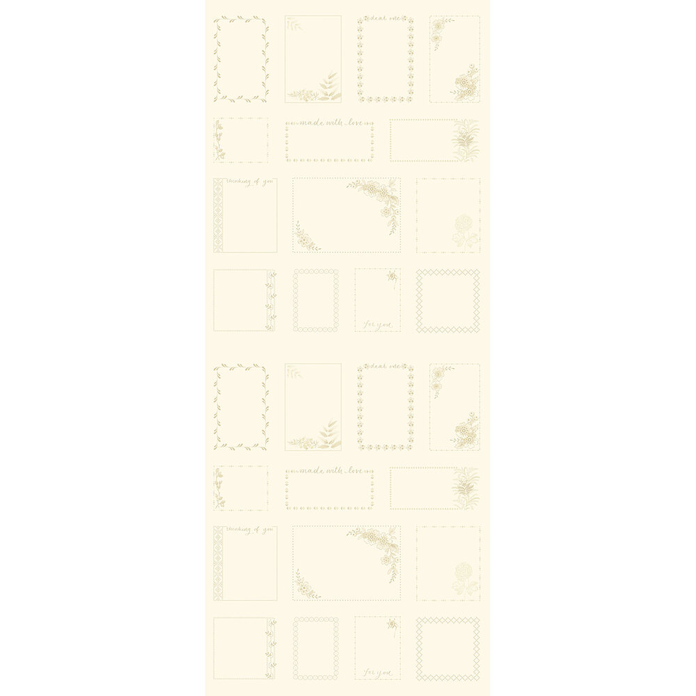 Cream fabric with fabric gift tags all over