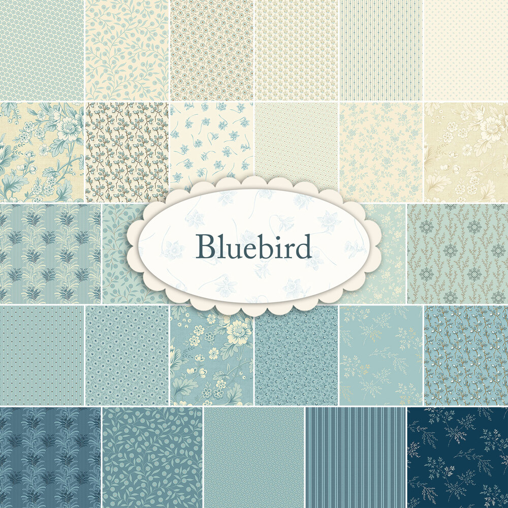 A collage of the beautiful fabrics in the Bluebird fabric collection