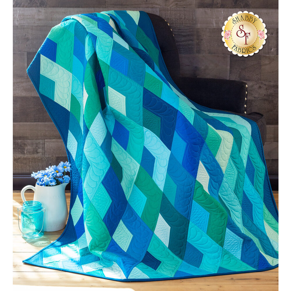 Boomerang Quilt Kit - Teal
