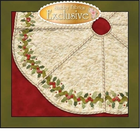 Cream-colored tree skirt with holly border made from jumbo ric-rac, applique leaves, and buttons.