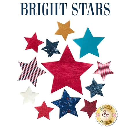 Brightly colored miscellaneous star applique shapes.