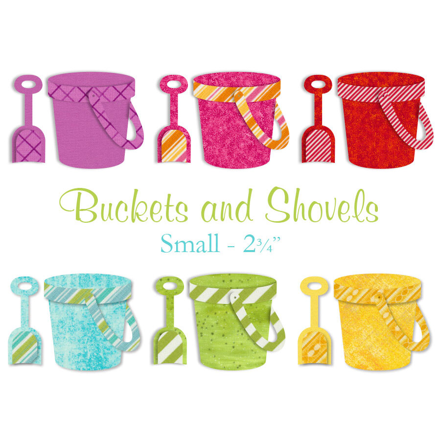 Brightly colored beach bucket applique shapes: purple, pink, red, blue, green, yellow.