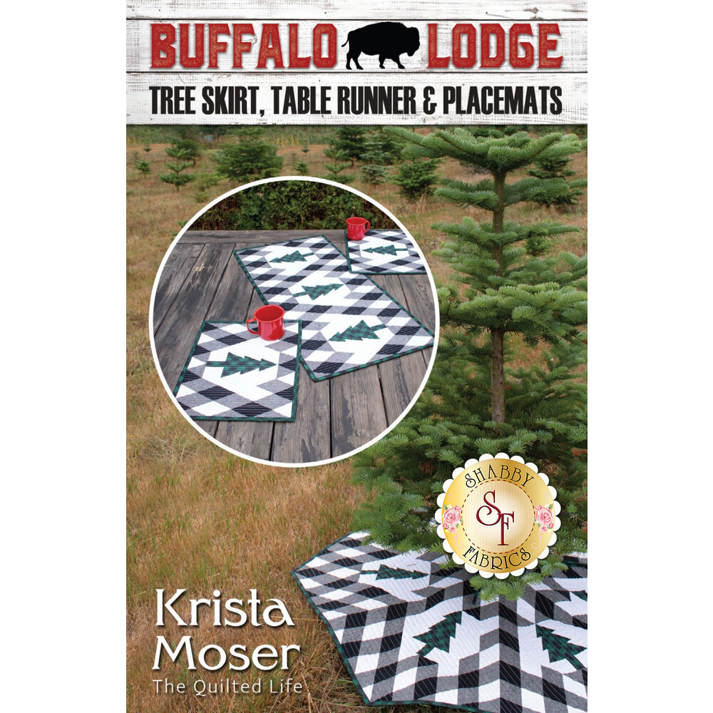 The front of the Buffalo Lodge pattern showing the finished tree skirt, table runner, and placemats