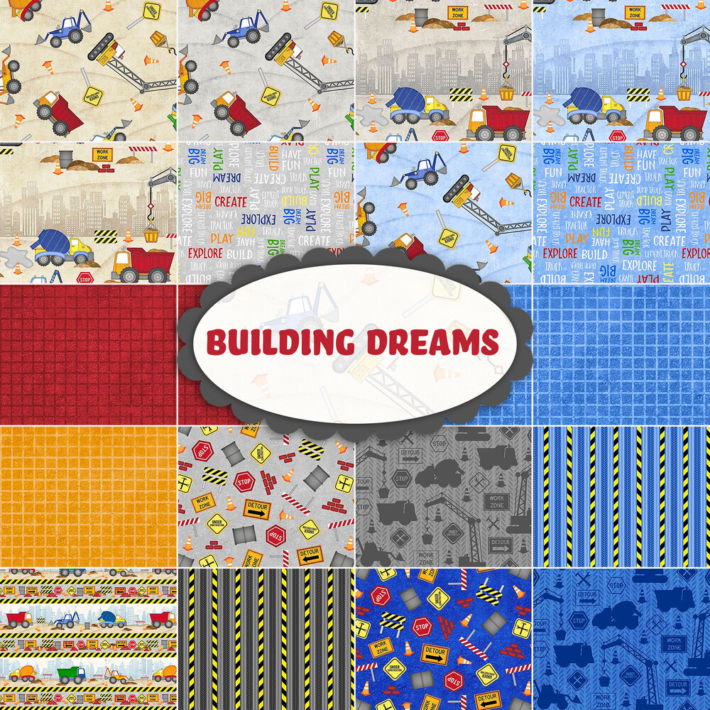 A collage of fabrics included in the Building Dreams collection