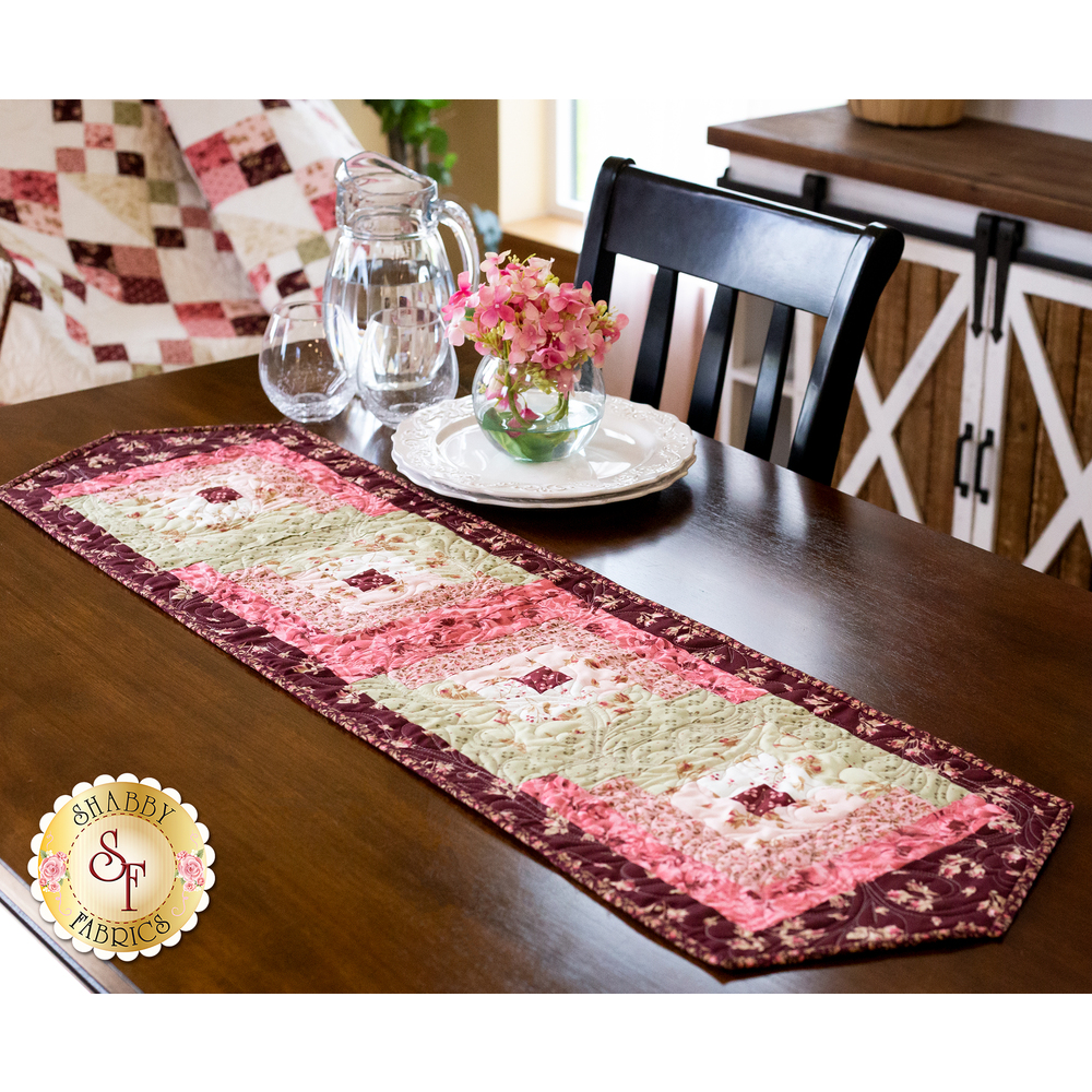 Burgundy & Blush Log Cabin Table Runner displayed | Shabby Fabrics