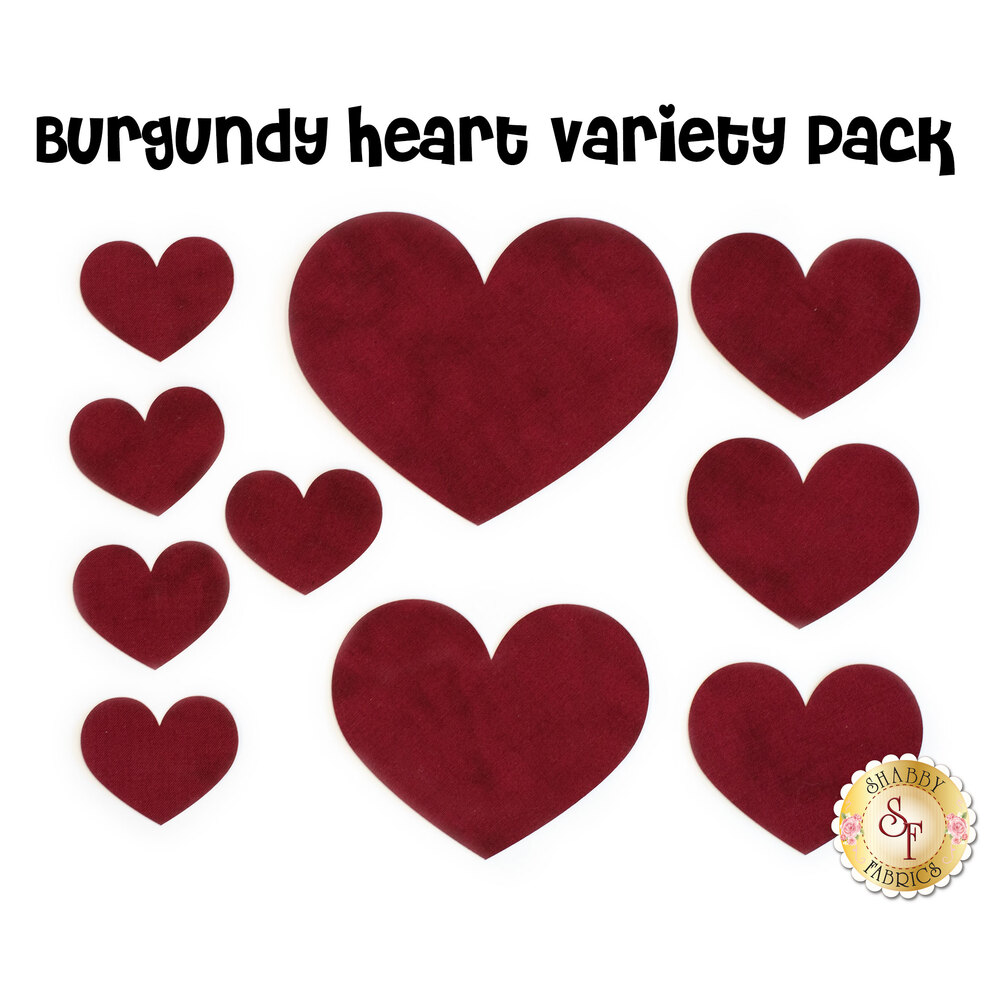 10 burgundy-colored heart applique shapes with fusible webbing.