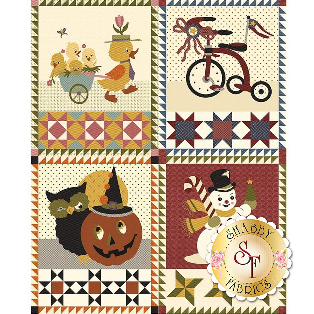 Four panel blocks featuring spring, summer, winter, and fall motifs on cream
