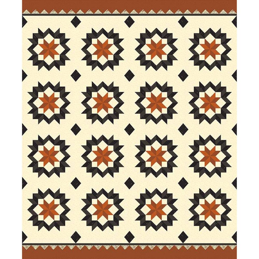 Black and orange star design on cream | Shabby Fabrics