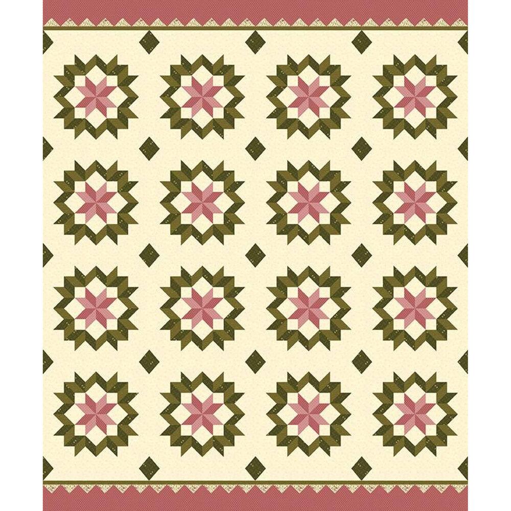 Pink and green star design on cream | Shabby Fabrics