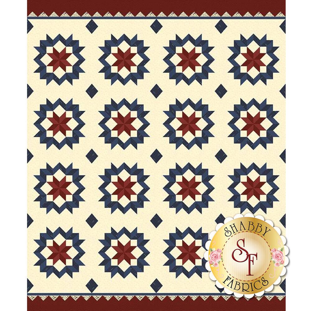 Blue and red star design on cream | Shabby Fabrics