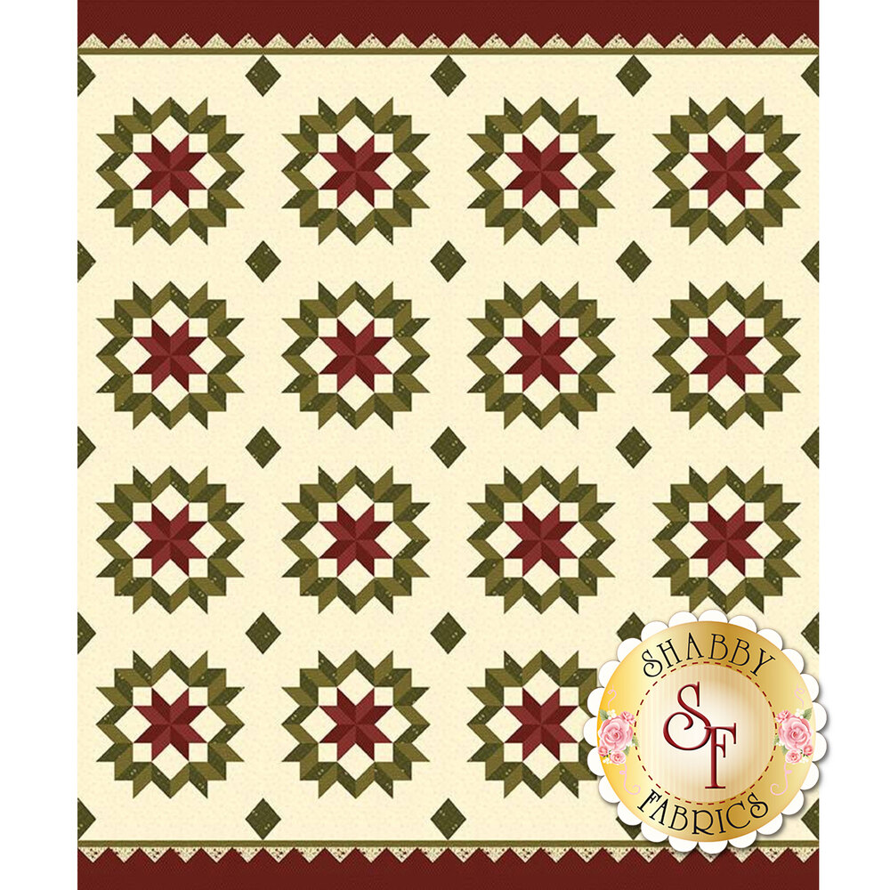 Red and green star design on cream | Shabby Fabrics