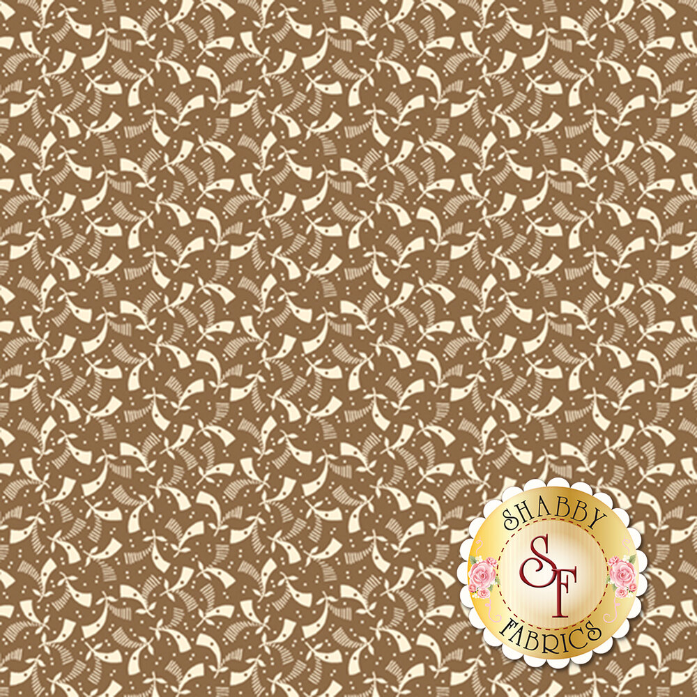 Cream geometric pattern on caramel | Shabby Fabrics