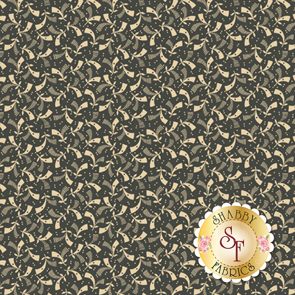 Cream geometric pattern on brown | Shabby Fabrics