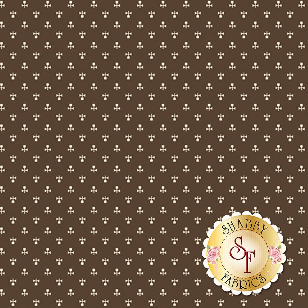 Cream ditsy print on brown | Shabby Fabrics