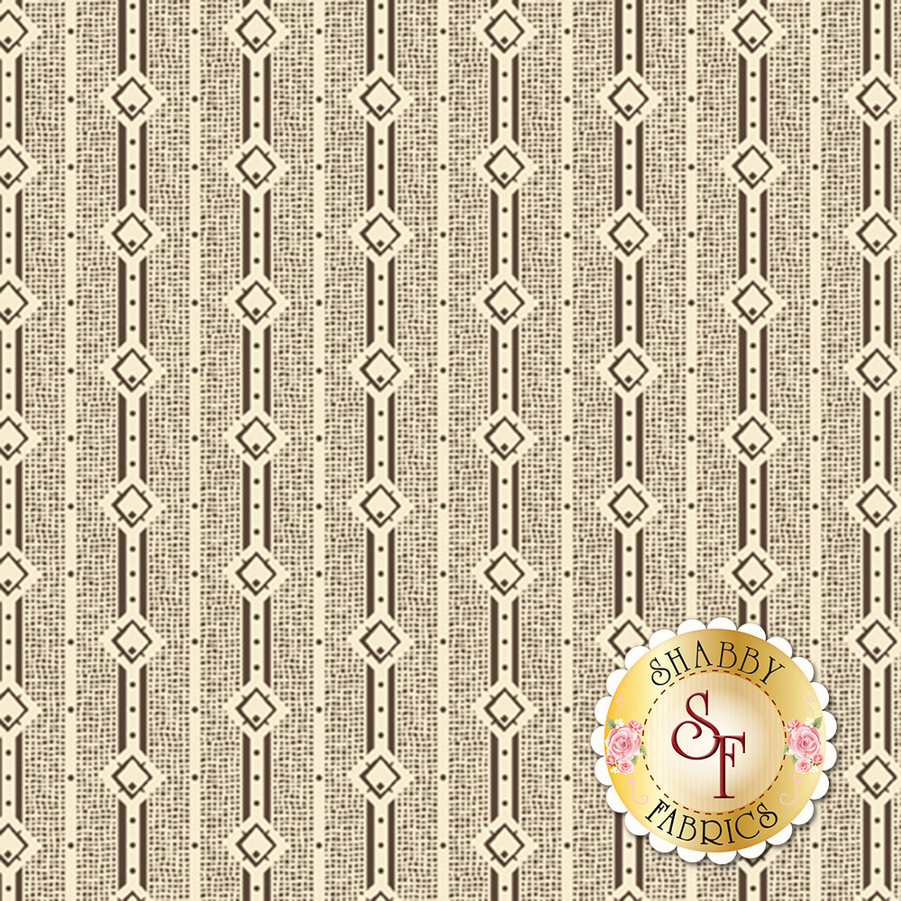 Dark brown stripes and diamond print on cream | Shabby Fabrics