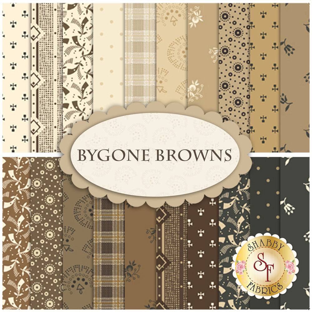 Collage of fabrics featured in the Bygone Browns collection | Shabby Fabrics