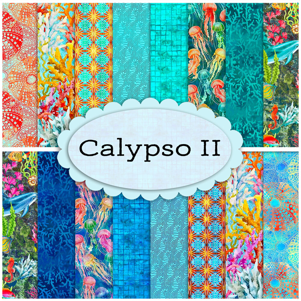 A collage of fabric from the Calypso II collection