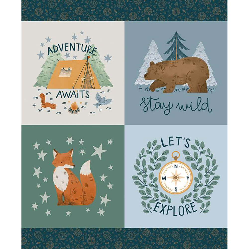 Camp Woodland quilt panel | Shabby Fabrics