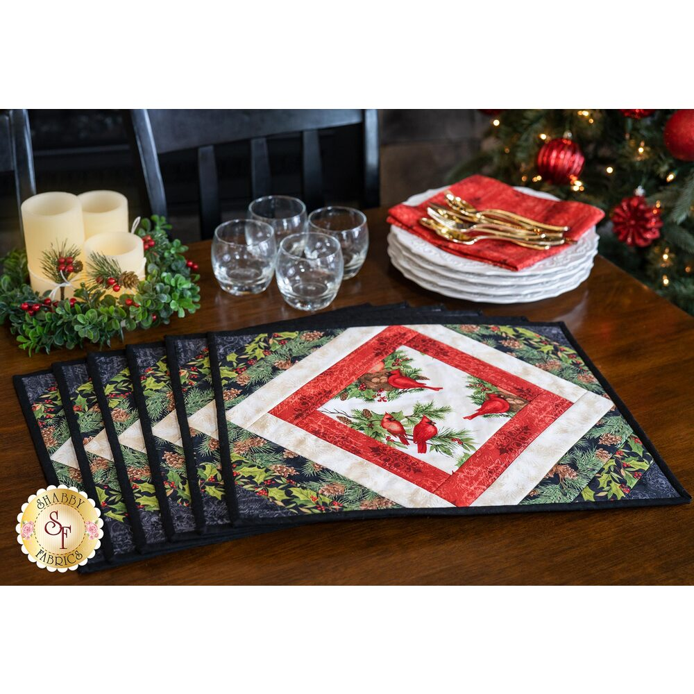 Quilt As You Go Casablanca Placemats Kit - Cardinal Noel | Shabby Fabrics