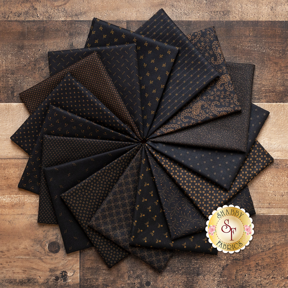 A collage of all 16 fabrics included in the Cast Iron FQ Set | Shabby Fabrics